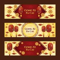 Gong Xi Fa Cai Banner Collection with Lantern and Flower Ornament Composition vector