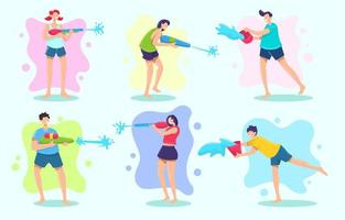 Male and Female Characters for Songkran Festival vector