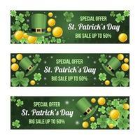 Gradient St Patricks Day Sale Banner Set vector