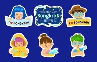 Stickers for Songkran Festival vector