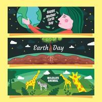 Banner plano del día de la tierra con concepto de animales y mujeres vector