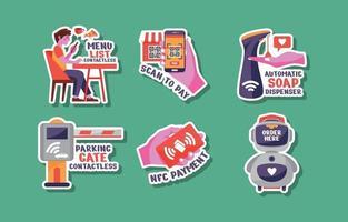 UNTACT Contactless Sticker Set vector