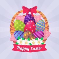 Easter Eggs Basket Concept vector