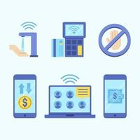 Blue Contactless Technology Icon Set vector