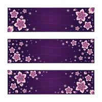 Beautiful Gradient Cherry Blossom Flowers Banner Set vector