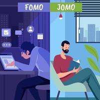 Symbolizing Fomo And Jomo Concept vector