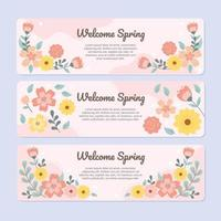 Refreshing Pink Spring With Scattered Flowers vector