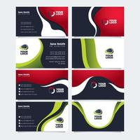 Wavy Red and Green Themed Sleek Business Card