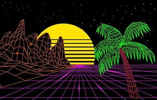 Retro Futurism Background 3D Wireframe
