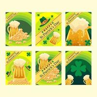 S t. diseño de tarjeta de fiesta de patrick con cerveza vector