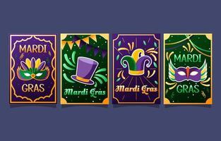 Set of Mardi Gras Festival Party Cards vector