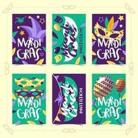 6 plantillas de tarjetas para mardi gras vector