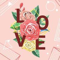 hermoso concepto de ramo de San Valentín vector