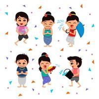 Happy Songkran Festival Character Set vector