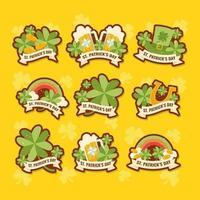 Cute Shamrock Sticker Set vector