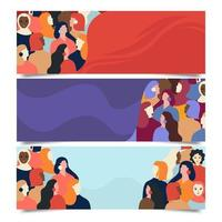 Women History Banner Collection vector