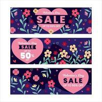 Banner de venta de San Valentín con forma de amor en el centro vector