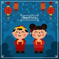 Gong Xi Fa Cai with Blue Background vector