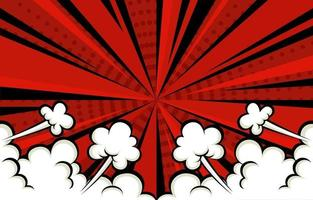 Comic Style Red Background with Cloud vector
