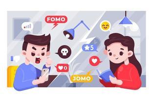 FOMO Vs JOMO Illustration Concept vector