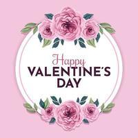 feliz dia de san valentin con hermoso marco de flores vector