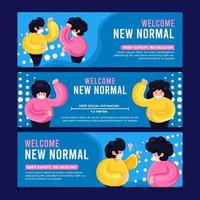New Normal Protocol Banner Collection vector