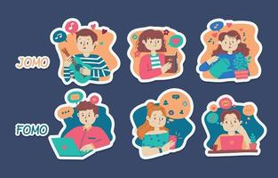 FOMO vs JOMO Stickers vector
