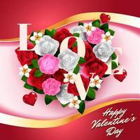 ramo de flores de san valentín en forma de corazón ilustración vector
