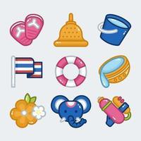 paquete de iconos de elementos songkran vector