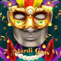 Mardi Gras illustration with mask and beads