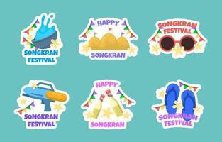 colección de pegatinas del festival songkran vector
