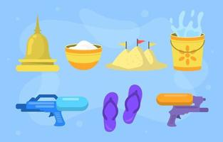 Flat Songkran Festival Icon Collection vector