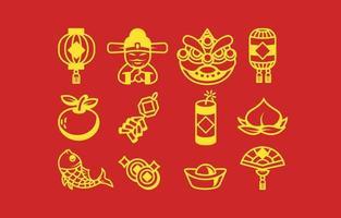 Set of Gong Xi Fa Cai Icons