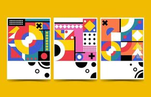 Three Flat abstract minimalist modern flat background vector