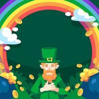 Leprechaun Rainbow Coin Background vector