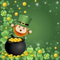 Cute Leprechaun and Gold Composition Background Concept vector