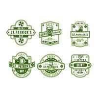 Vintage St. Patrick Day Shamrock label set vector