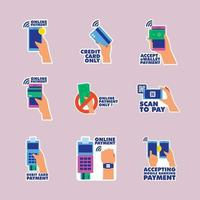 Untact Cashless Payment Method Label Collection vector