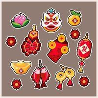 Gong Xi Fa Cai Sticker Set vector