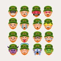 conjunto de pegatina emoji duende vector