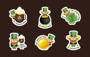 Cute Leprechaun Sticker Collection for St Patricks Day vector