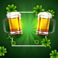 trébol st. fondo del día de patrick con dos vasos de cerveza vector