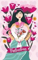mujer feliz en el dia de san valentin vector