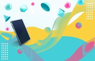 Smartphone Geometric wave background