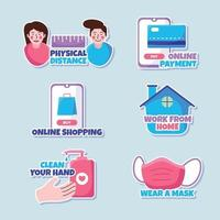 New Normal Protocol Sticker Collection vector