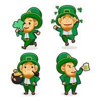 Set of Leprechaun Cartoony Characters vector