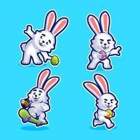 conjunto de caracteres de conejito de pascua vector