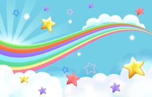 Cloudy fun rainbow background vector