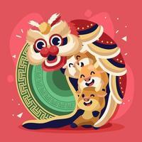 Three Cute Little Ox Doing Lion Dance vector