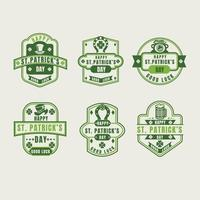 Vintage St. Patrick Day Shamrock labels set vector